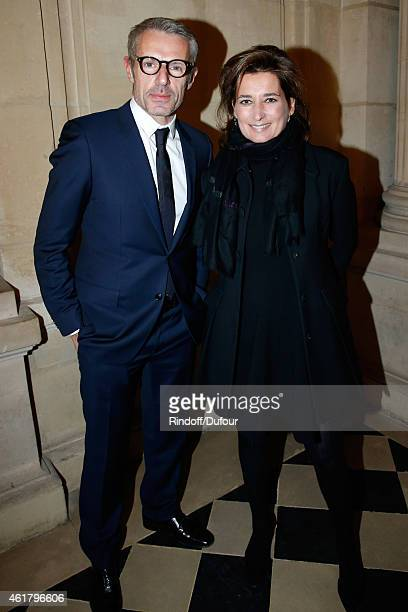 Actor Lambert Wilson and Director of Gaumont Sidonie Dumas attend Luc Besson receives the First 'Gold Medal of the Academy of Arts and Techniques of...