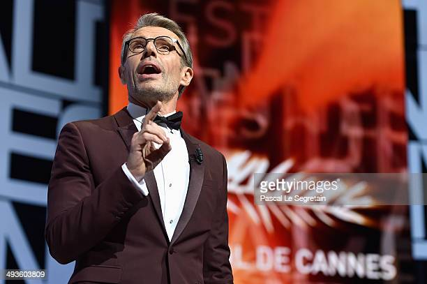 Actor Lambert Wilson hosts the Closing Ceremony at the 67th Annual Cannes Film Festival on May 24 2014 in Cannes France