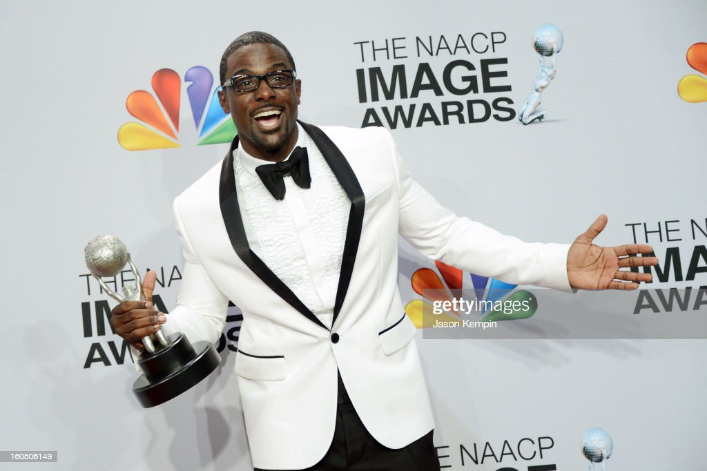 Actor Lance Gross poses in the press room during the 44th NAACP Image Awards at The Shrine Auditorium on February 1, 2013 in Los Angeles, California.