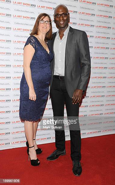 Actor Lance Reddick and wife Stephanie Reddick attend the opening night premiere party for LA Art Show 2013 at Los Angeles Convention Center on...