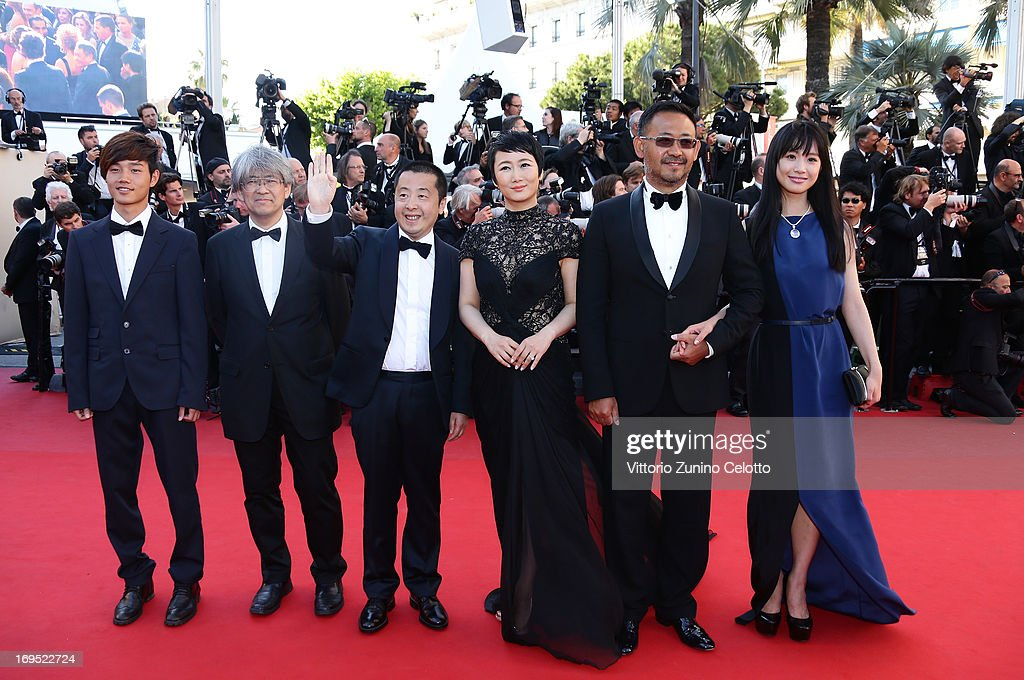 Actor Lanshan Luo, producer Shozo Ichiyama, director <a gi-track='captionPersonalityLinkClicked' href=/galleries/search?phrase=Jia+Zhangke&family=editorial&specificpeople=2522581 ng-click='$event.stopPropagation()'>Jia Zhangke</a> and actors Tao Zhao, <a gi-track='captionPersonalityLinkClicked' href=/galleries/search?phrase=Jiang+Wu&family=editorial&specificpeople=7901462 ng-click='$event.stopPropagation()'>Jiang Wu</a> and Meng Li attend the 'Zulu' Premiere and Closing Ceremony during the 66th Annual Cannes Film Festival at the Palais des Festivals on May 26, 2013 in Cannes, France.