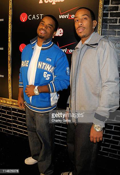 Actor Larenz Tate and rapper/actor Chris 'Ludacris' Bridges attend the Verizon Wireless and People Magazine party to honor Timbaland at the Avalon...