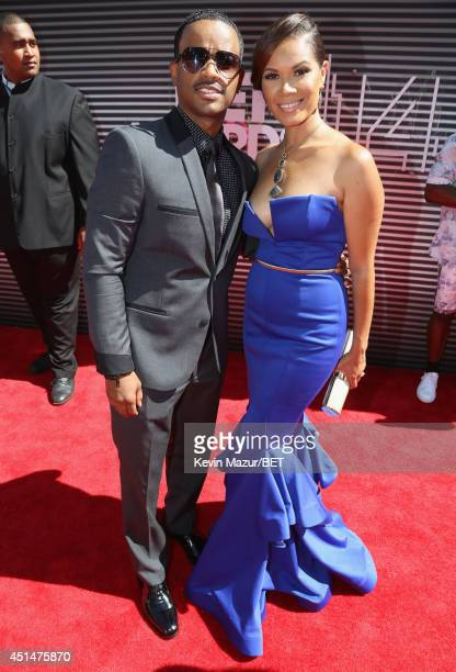 Actor Larenz Tate and Tomasina Parrott attend the BET AWARDS '14 at Nokia Theatre LA LIVE on June 29 2014 in Los Angeles California