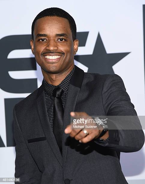 Actor Larenz Tate poses in the press room during the BET AWARDS '14 at Nokia Theatre LA LIVE on June 29 2014 in Los Angeles California