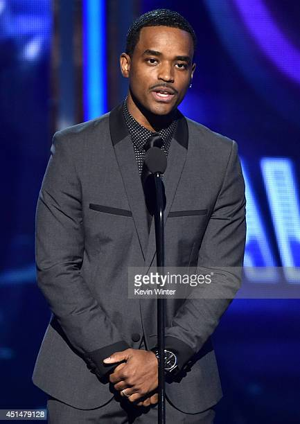 Actor Larenz Tate speaks onstage during the BET AWARDS '14 at Nokia Theatre LA LIVE on June 29 2014 in Los Angeles California