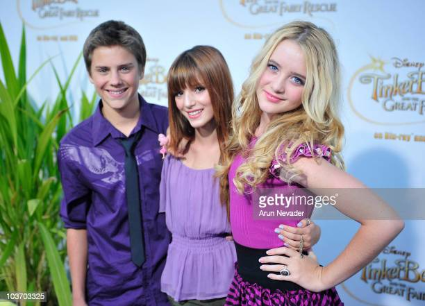 Actor Larry Baxtrom and actresses Bella Thorne and Kathryn Newton attend PicnicInThePark Premiere Of 'Tinkerbell' at La Cienega Park on August 28...