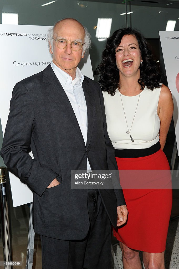 Actor Larry David and wife Producer Laurie David arrive at the Los Angeles premiere of 'Fed Up' at Pacfic Design Center on May 8, 2014 in West Hollywood, California.
