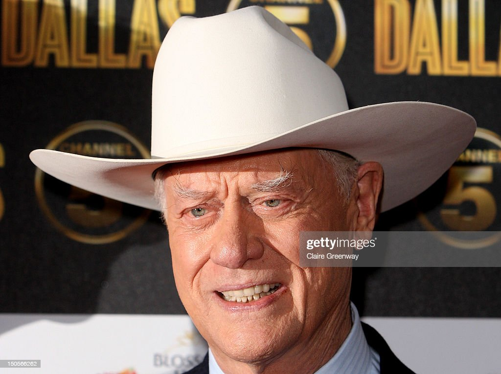Actor Larry Hagman arrives at the launch party for the new Channel 5 television series of 'Dallas' at Old Billingsgate on August 21, 2012 in London, England.