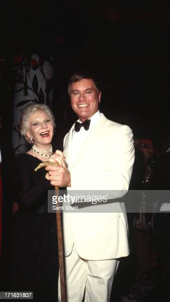 Actor Larry Hagman dancing with his mother on September 241982 in New York New York