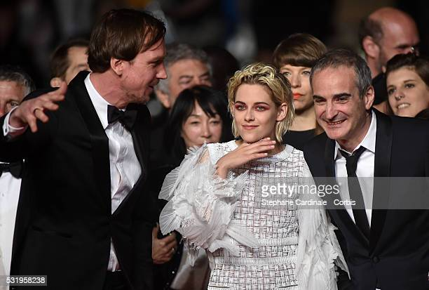 Actor Lars Eidinger actress Kristen Stewart and director Olivier Assayas attend the 'Personal Shopper' premiere during the 69th annual Cannes Film...