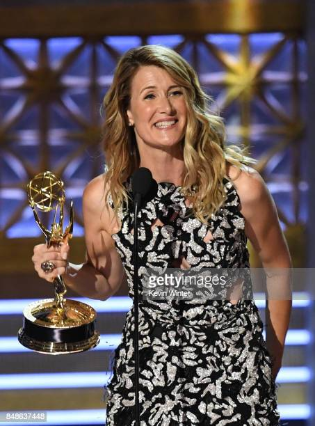 Actor Laura Dern accepts Outstanding Supporting Actress in a Limited Series or Movie for 'Big Little Lies' onstage during the 69th Annual Primetime...