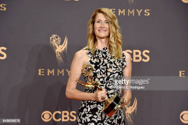 Actor Laura Dern winner of Outstanding Supporting Actress in a Limited Series or Movie for 'Big Little Lies' poses in the press room during the 69th...