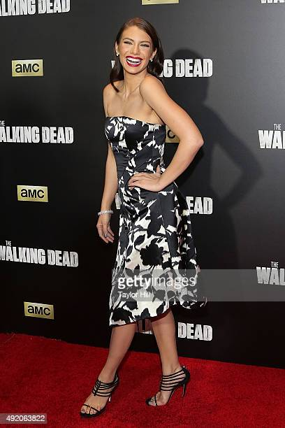 Actor Lauren Cohan attends 'The Walking Dead' premiere at Madison Square Garden on October 9 2015 in New York City