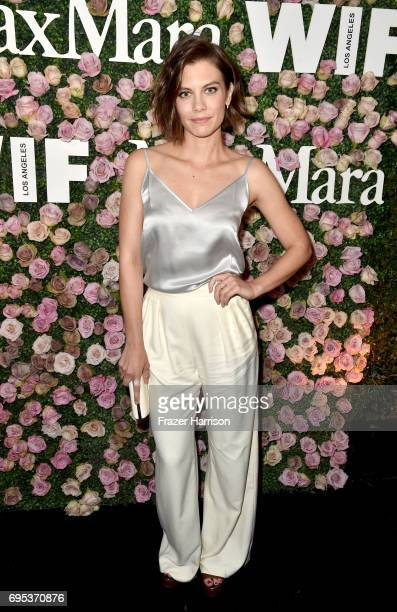Actor Lauren Cohan wearing Max Mara at Max Mara Celebrates Zoey Deutch The 2017 Women In Film Max Mara Face of the Future at Chateau Marmont on June...