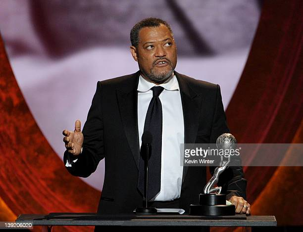 Actor Laurence Fishburne accepts the Outstanding Actor in a Television Movie MiniSeries or Dramatic Special for 'Thurgood' onstage at the 43rd NAACP...