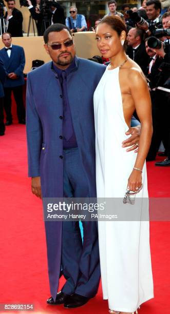 Actor Laurence Fishburne and his wife Gina arriving for the premiere of The Matrix Reloaded at the Palais des Festival in Cannes