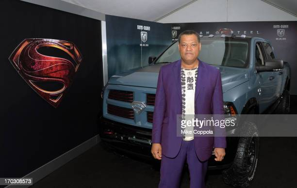 Actor Laurence Fishburne attends the 'Man of Steel' NYC premiere sponsored by RAM at Alice Tully Hall at Lincoln Center on June 10 2013 in New York...