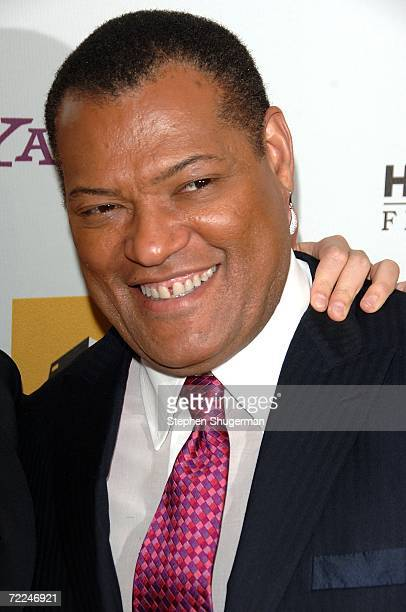 Actor Laurence Fishburne poses with the Ensemble award for 'Bobby' in the press room at The Hollywood Film Festival 10th Annual Hollywood Awards Gala...