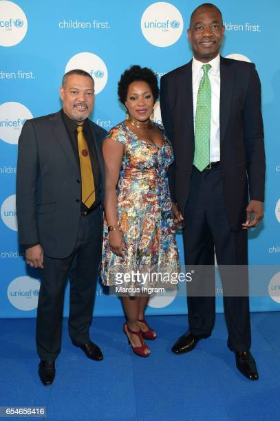 Actor Laurence Fishburne Rose Mutombo and Board of Director Dikembe Mutombo attend UNICEF's Evening For Children First at The Foundry At Puritan Mill...