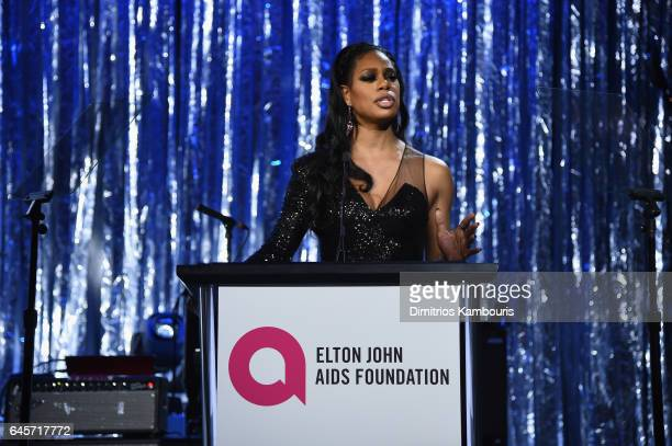 Actor Laverne Cox speaks onstage at the 25th Annual Elton John AIDS Foundation's Academy Awards Viewing Party at The City of West Hollywood Park on...
