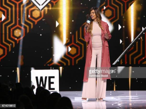 Actor Laverne Cox speaks onstage at WE Day California to celebrate young people changing the world at The Forum on April 27 2017 in Inglewood...