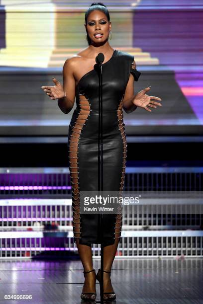Actor Laverne Cox speaks onstage during The 59th GRAMMY Awards at STAPLES Center on February 12 2017 in Los Angeles California