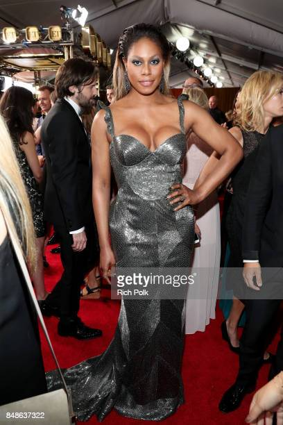 Actor Laverne Cox walks the red carpet during the 69th Annual Primetime Emmy Awards at Microsoft Theater on September 17 2017 in Los Angeles...