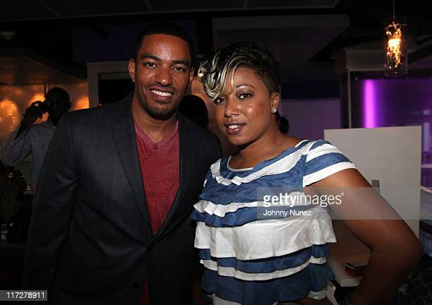 Actor Laz Alonso and author Demetria Lucas attend the Cafe Entourage on June 24 2011 in Hollywood California