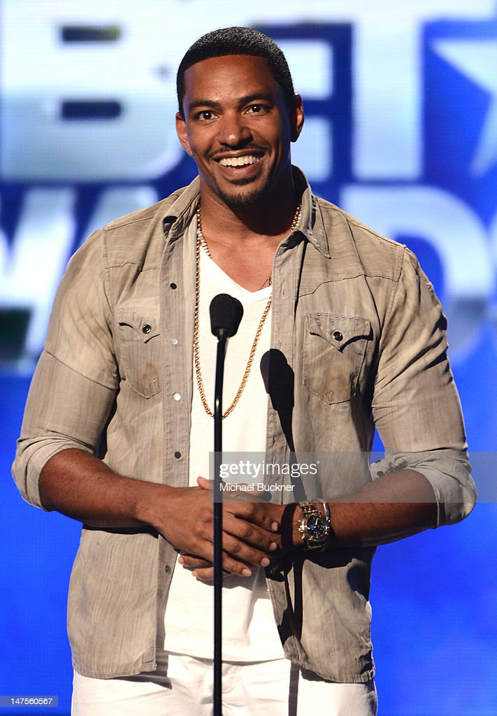 Actor <a gi-track='captionPersonalityLinkClicked' href=/galleries/search?phrase=Laz+Alonso&family=editorial&specificpeople=2179533 ng-click='$event.stopPropagation()'>Laz Alonso</a> onstage during the 2012 BET Awards at The Shrine Auditorium on July 1, 2012 in Los Angeles, California.