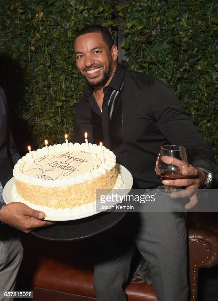 Actor Laz Alonso recieves a birthday cake at the Remy Martin Culture Creators birthday celebration for Laz Alonso at Vandal on March 25 2017 in New...