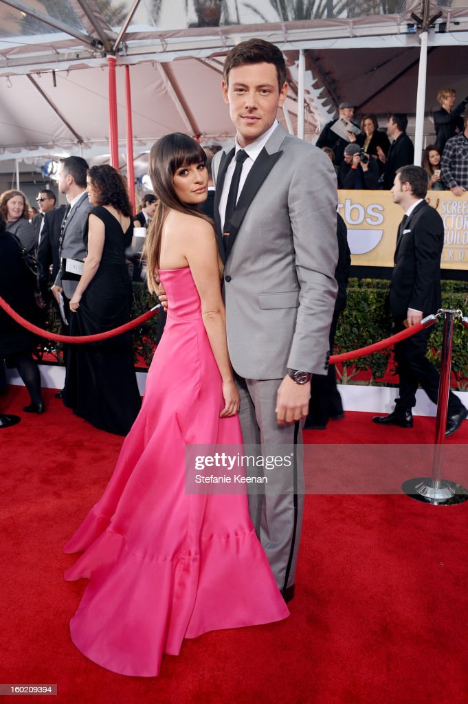 Actor Lea Michele and Cory Monteith attend the 19th Annual Screen Actors Guild Awards at The Shrine Auditorium on January 27 2013 in Los Angeles...