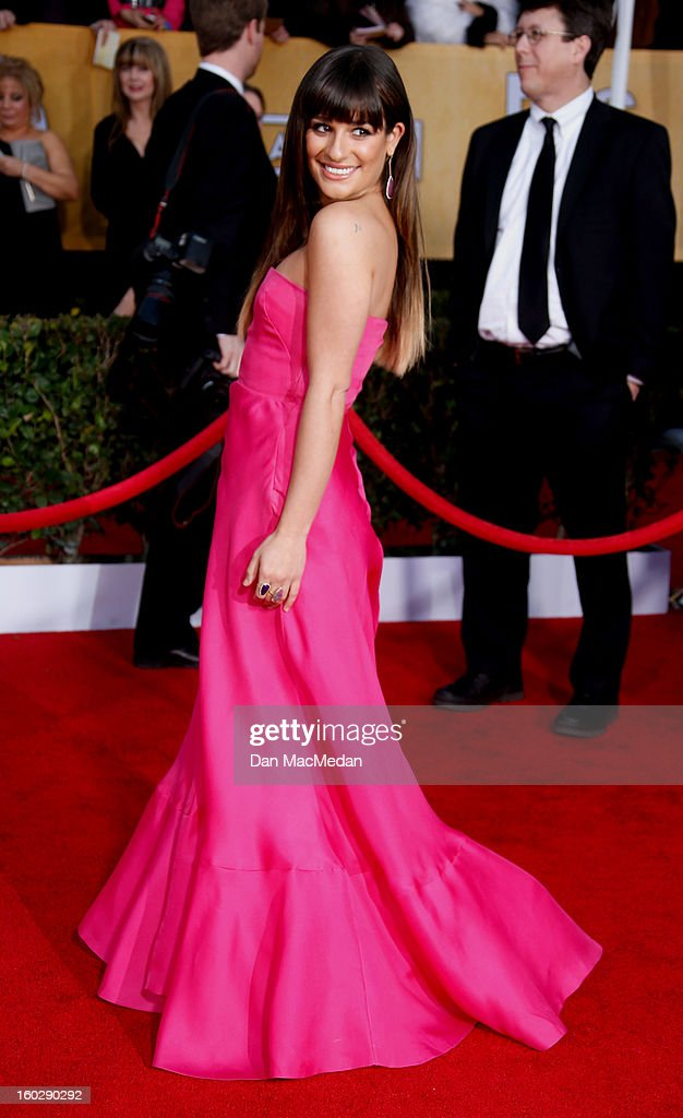 Actor Lea Michele arrives at the 19th Annual Screen Actors Guild Awards at the Shrine Auditorium on January 27, 2013 in Los Angeles, California.