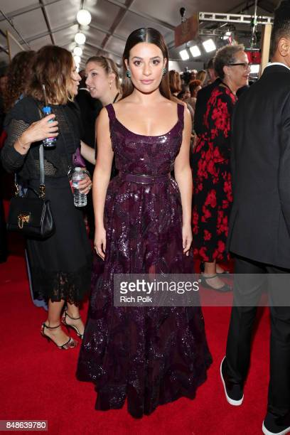 Actor Lea Michele walks the red carpet during the 69th Annual Primetime Emmy Awards at Microsoft Theater on September 17 2017 in Los Angeles...