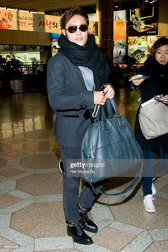 Actor Lee Byung-Hun is seen at Gimpo International Airport on January 28, 2013 in Seoul, South Korea.