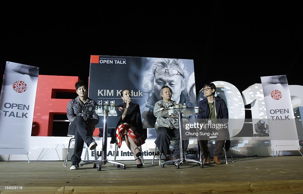 Actor Lee Jung-Jin, actress Cho Min-Soo and director Kim Ki-duk attend Open Talk during the 17th Busan International Film Festival (BIFF) at Haeundae beach on October 12, 2012 in Busan, South Korea. The biggest film festival in Asia showcases 304 films from 75 countries and runs from October 4-13.