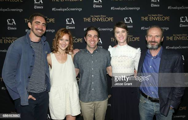 Actor Lee Pace actor Kerry Bishe show cocreator Chris Rogers actor Mackenzie Davis and actor Toby Huss attend the 'Halt and Catch Fire' panel on May...