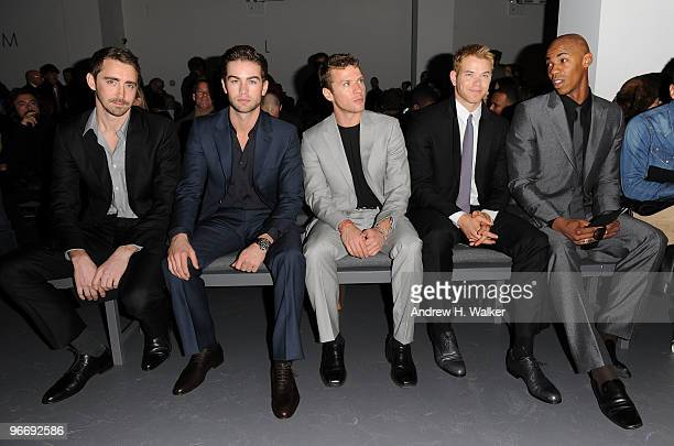 Actor Lee Pace musician Jared Leto actors Chace Crawford Ryan Phillippe Kellan Lutz and Mehcad Brooks attend the Calvin Klein Men's Collection Fall...