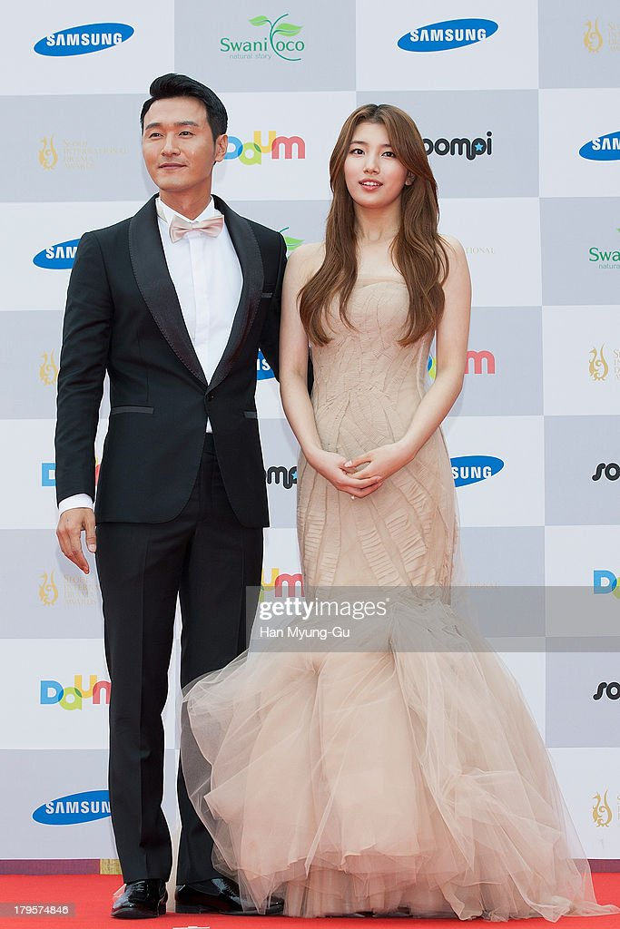 Actor Lee Sung-Jae and Suzy of South Korean girl group Miss A arrive for photographs at the Seoul International Drama Awards 2013 at National Theater on September 5, 2013 in Seoul, South Korea.
