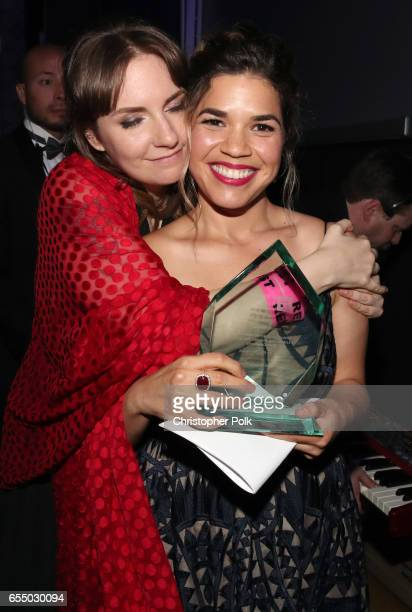 Actor Lena Dunham and honoree America Ferrera recipient of the HRC Ally for Equality Award at The Human Rights Campaign 2017 Los Angeles Gala Dinner...