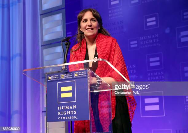 Actor Lena Dunham speaks onstage at The Human Rights Campaign 2017 Los Angeles Gala Dinner at JW Marriott Los Angeles at LA LIVE on March 18 2017 in...