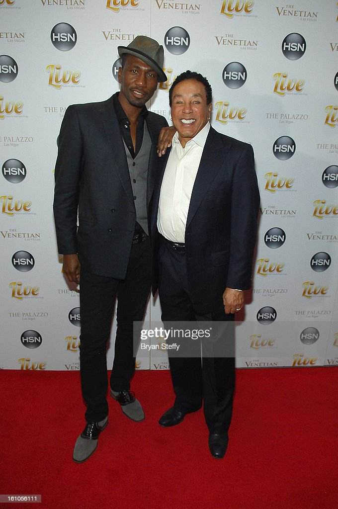 Actor Leon Robinson (L) and singer <a gi-track='captionPersonalityLinkClicked' href=/galleries/search?phrase=Smokey+Robinson&family=editorial&specificpeople=210698 ng-click='$event.stopPropagation()'>Smokey Robinson</a> arrive at the HSN Live Michael Bolton concert at The Venetian Resort Hotel Casino on February 8, 2013 in Las Vegas, Nevada.
