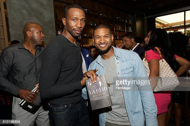 Actor Leon Robinson and Singer Usher attend the LA Reid 'Sing To Me' PreGrammy Brunch at Hinoki The Bird on February 13 2016 in Los Angeles California