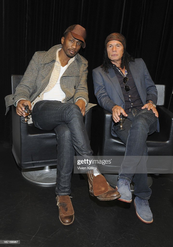 Actor Leon Robinson and Wayne 'Native Wayne' Jobson attend Art + Beauty Oscar Celebration For NYC Contemporary Artist Bobby Hill at Metodo Rossano Ferretti Hair Spa on February 19, 2013 in Beverly Hills, California.