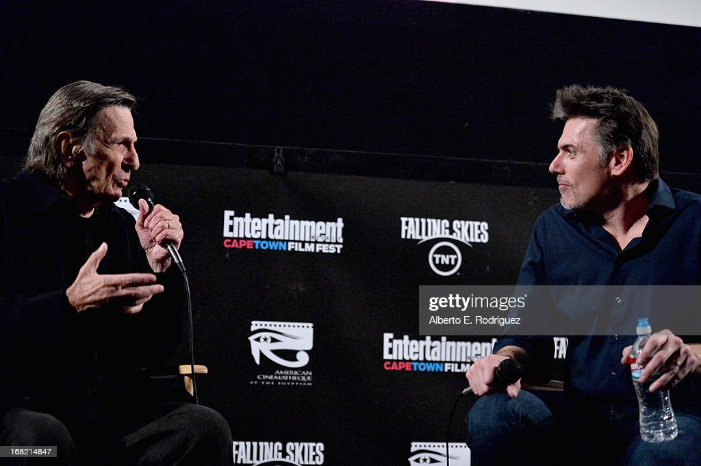 Actor Leonard Nimoy and EW wrier Goeff Boucher attend Entertainment Weekly's CapeTown Film Festival presented by The American Cinematheque and sponsored by TNT's 'Falling Skies' at the Egyptian Theatre on May 6, 2013 in Hollywood, California.
