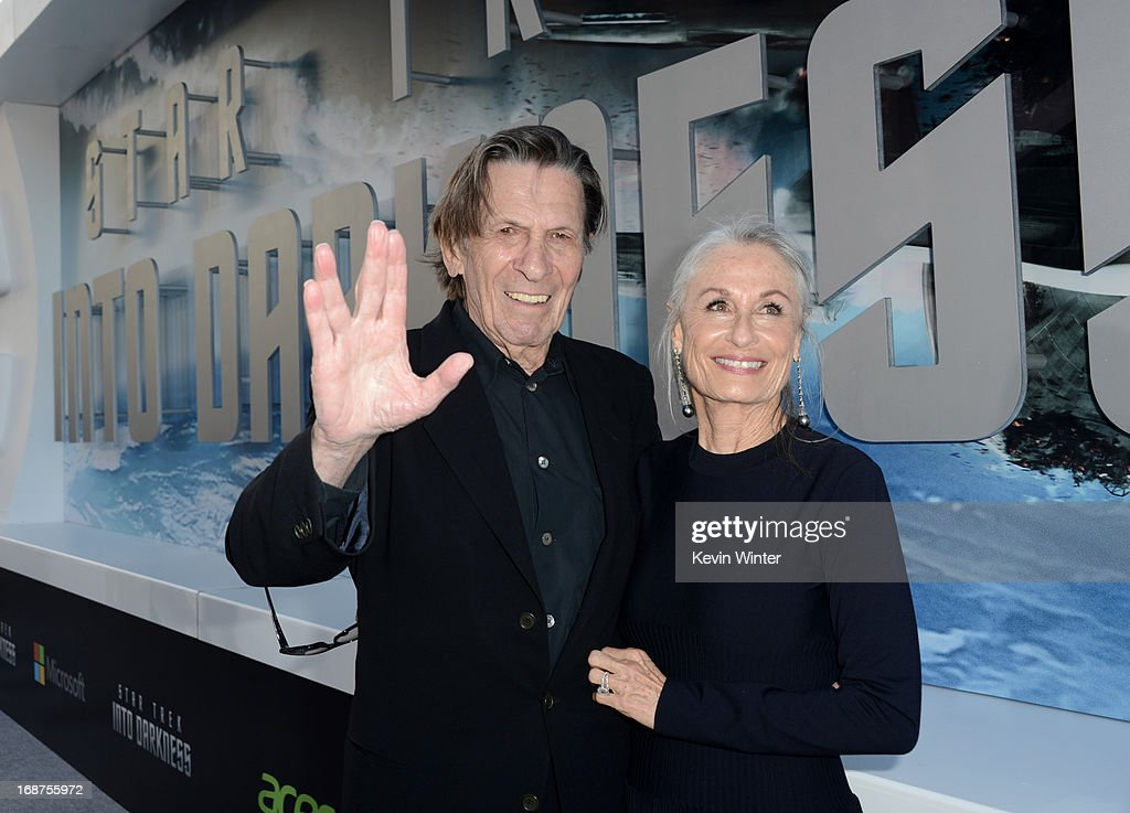 Actor <a gi-track='captionPersonalityLinkClicked' href=/galleries/search?phrase=Leonard+Nimoy&family=editorial&specificpeople=216431 ng-click='$event.stopPropagation()'>Leonard Nimoy</a> (L) and wife <a gi-track='captionPersonalityLinkClicked' href=/galleries/search?phrase=Susan+Bay&family=editorial&specificpeople=2212673 ng-click='$event.stopPropagation()'>Susan Bay</a> arrive at the Premiere of Paramount Pictures' 'Star Trek Into Darkness' at Dolby Theatre on May 14, 2013 in Hollywood, California.