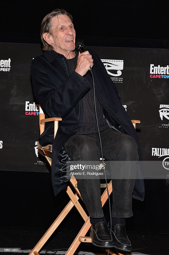 Actor Leonard Nimoy attends Entertainment Weekly's CapeTown Film Festival presented by The American Cinematheque and sponsored by TNT's 'Falling Skies' at the Egyptian Theatre on May 6, 2013 in Hollywood, California.