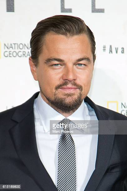 Actor Leonardo Di Caprio attends the 'Before the Flodd Avant le Deluge' Premiere at Theatre du Chatelet on October 17 2016 in Paris France