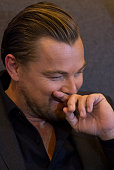 Actor Leonardo Di Caprio reacts during a press conference to present the film The Revenant at Four Seasons Hotel on January 26 2016 in Mexico City...