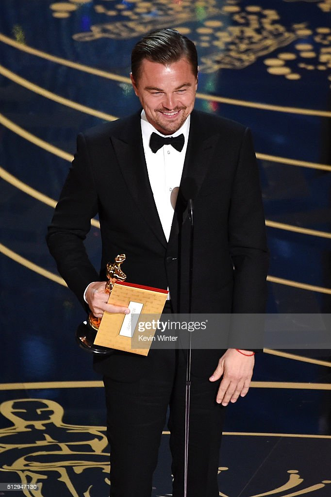 Actor <a gi-track='captionPersonalityLinkClicked' href=/galleries/search?phrase=Leonardo+DiCaprio&family=editorial&specificpeople=201635 ng-click='$event.stopPropagation()'>Leonardo DiCaprio</a> accepts the Best Actor award for 'The Revenant' onstage during the 88th Annual Academy Awards at the Dolby Theatre on February 28, 2016 in Hollywood, California.