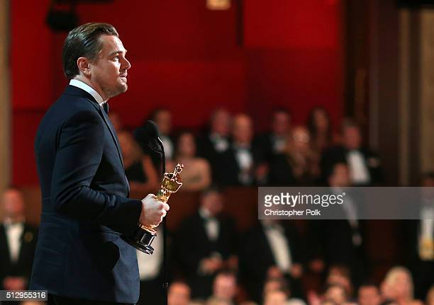 Actor Leonardo DiCaprio accepts the Best Performance by an Actor in a Leading Role award for 'The Revenant' onstage during the 88th Annual Academy...